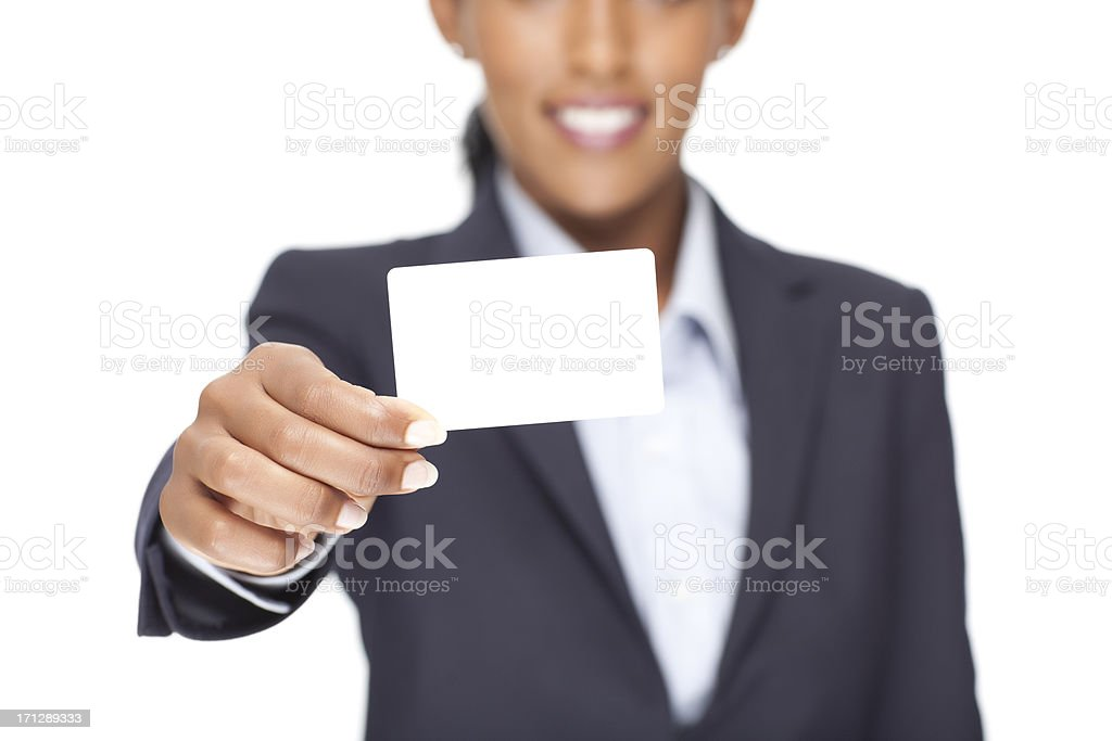 Businesswoman showing blank business card. stock photo