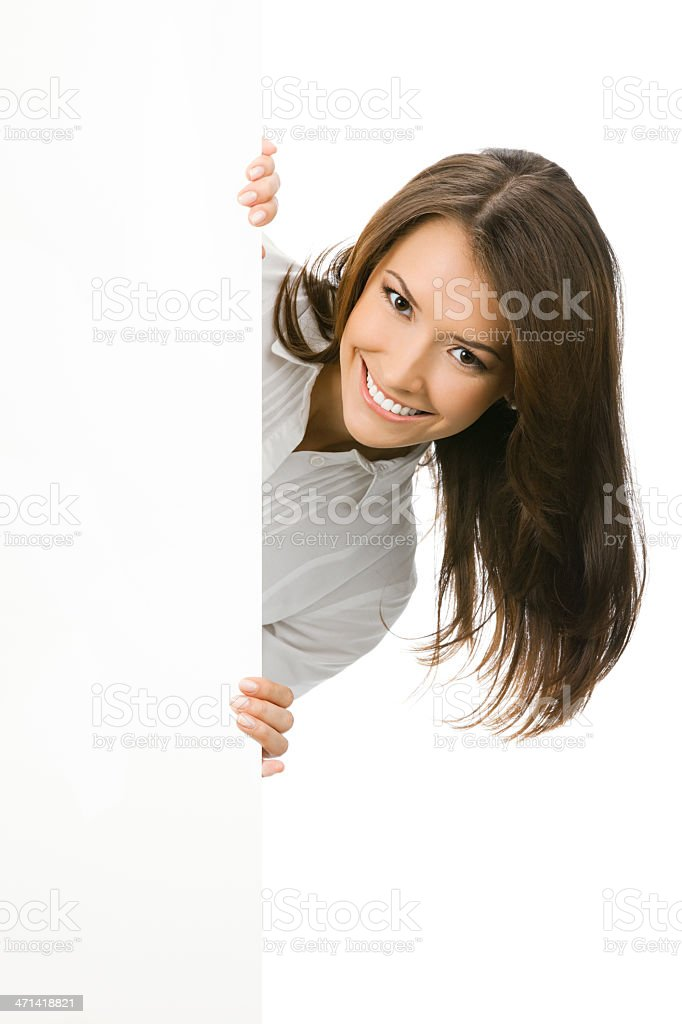 Businesswoman showing blank signboard, on white stock photo