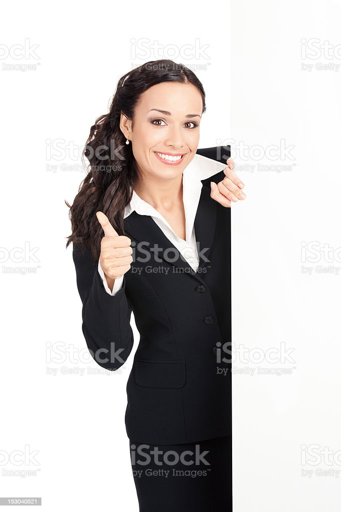 Businesswoman showing blank signboard, over white royalty-free stock photo