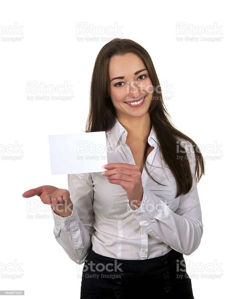 businesswoman showing business card stock photo