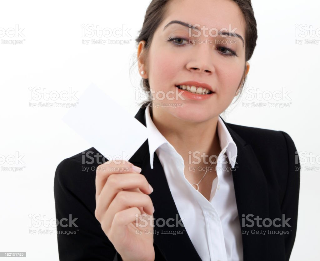 businesswoman showing business card royalty-free stock photo