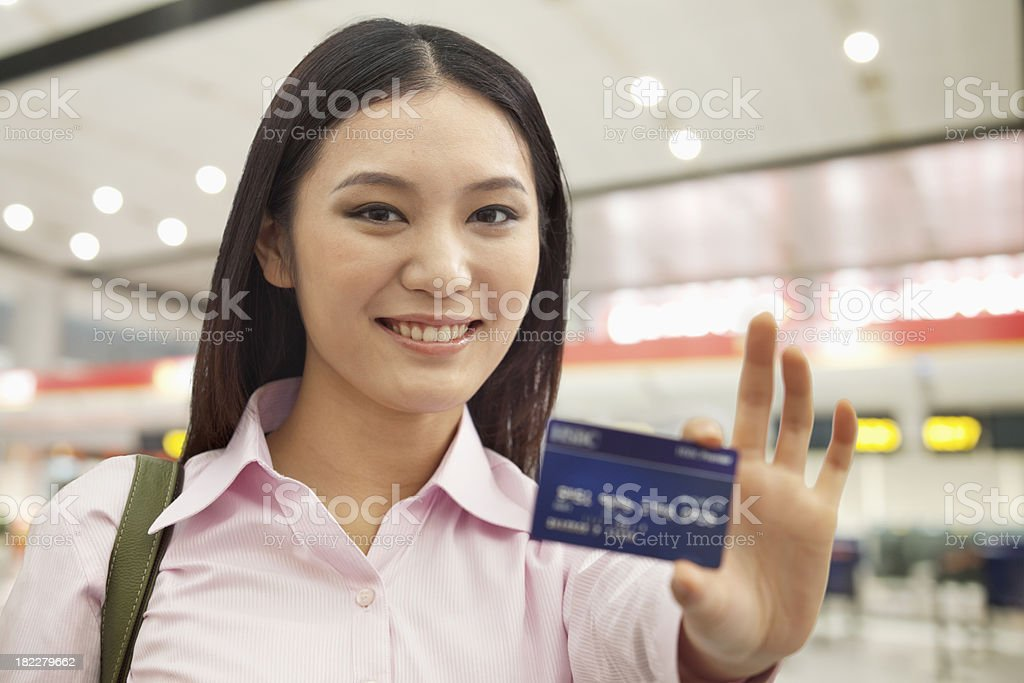 Businesswoman Showing Credit Card royalty-free stock photo