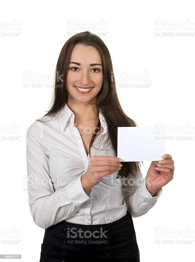 businesswoman showing her business card stock photo