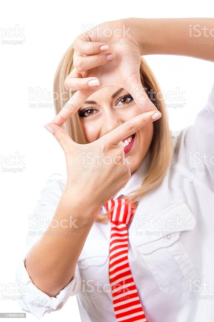 Businesswoman showing her fingers stock photo