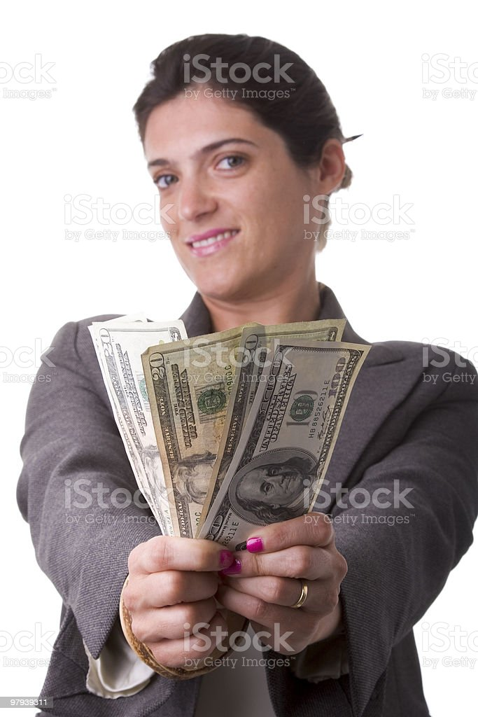 businesswoman showing her money royalty-free stock photo