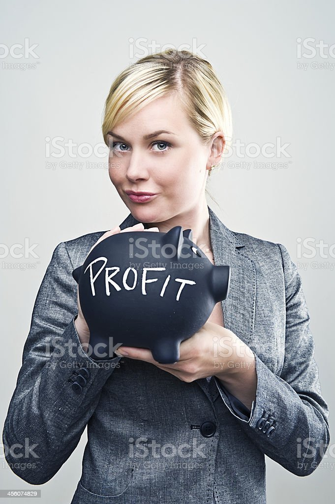 Businesswoman showing her profit royalty-free stock photo