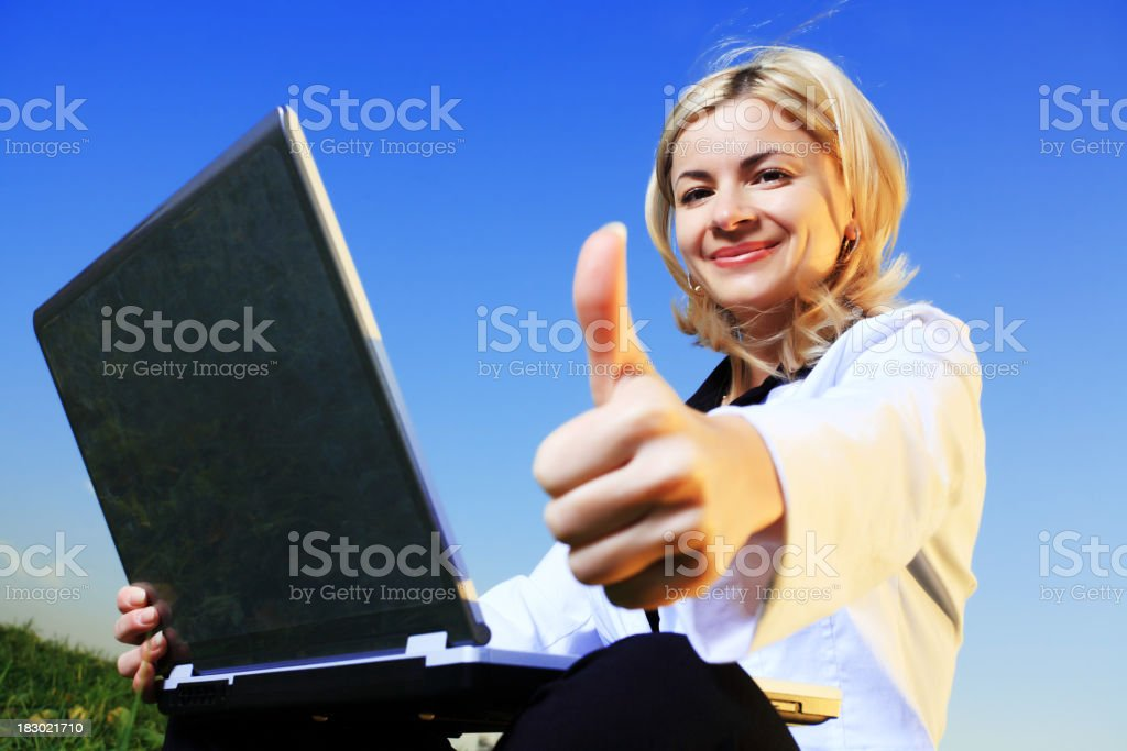 Businesswoman showing ok royalty-free stock photo