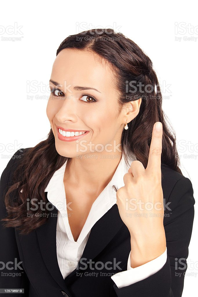 Businesswoman showing one finger, on white royalty-free stock photo