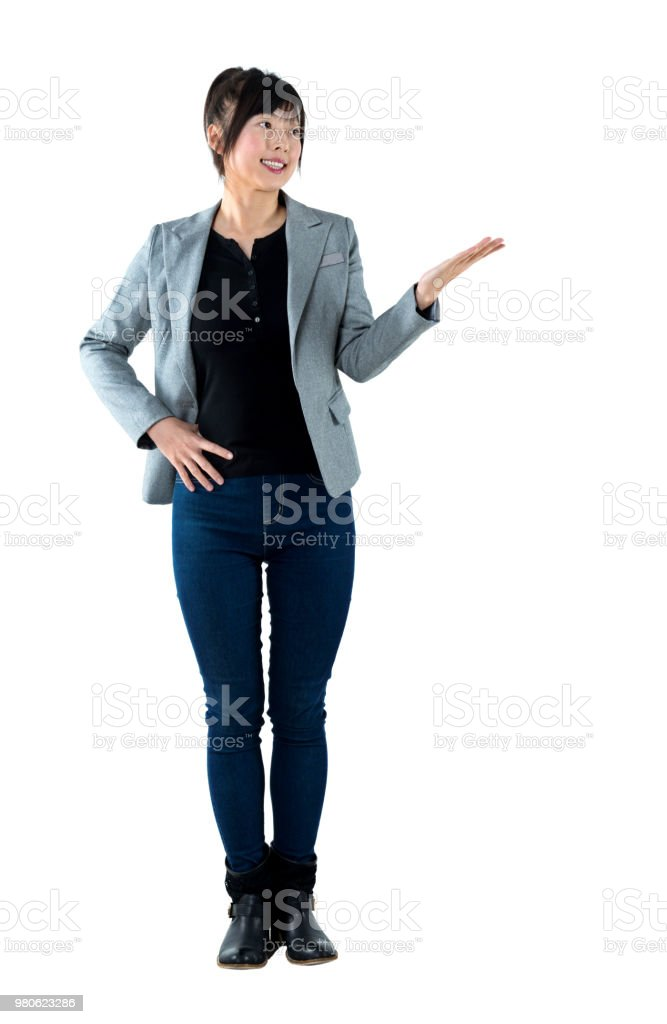 Businesswoman showing open hand palm stock photo
