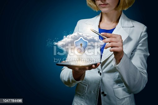 1156072209istockphoto Businesswoman showing protected data cloud . 1047784496