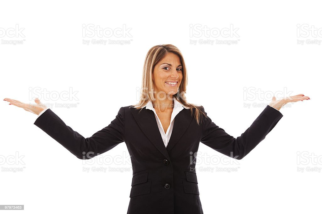 Businesswoman showing something royalty-free stock photo