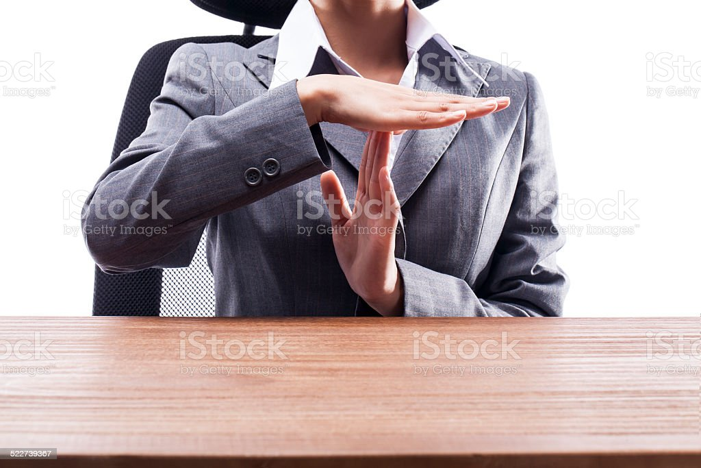 Businesswoman Showing Stop Hand Sign stock photo