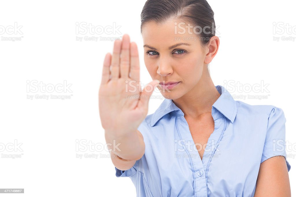 Businesswoman showing stop with hand royalty-free stock photo