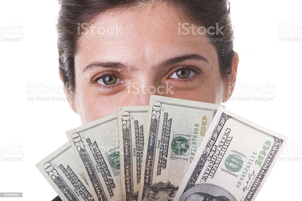businesswoman showing the money royalty-free stock photo