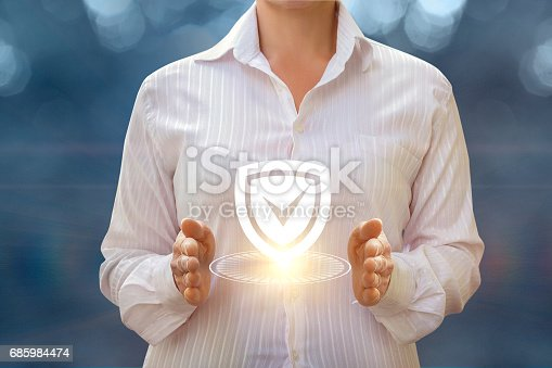 istock A businesswoman shows installed protection . 685984474