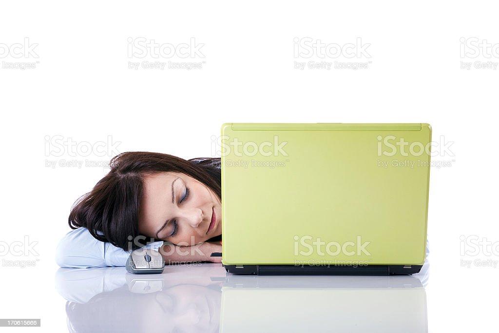 Businesswoman sleeping near of laptop royalty-free stock photo