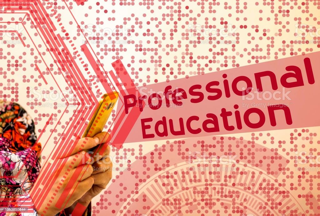 businesswoman smart phone with Professional Education text, concept stock photo