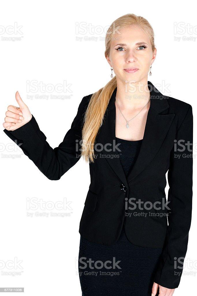 Businesswoman smile show ok finger stock photo