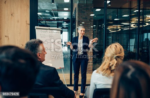 682363912istockphoto Businesswoman Speaking in front of Audience 933479426