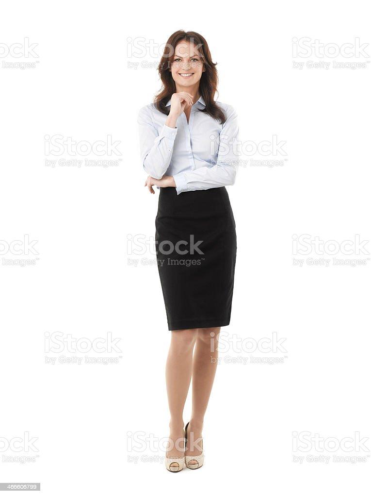 Empresária em pé contra fundo branco - foto de acervo