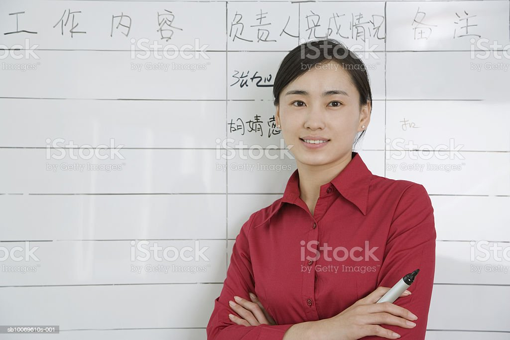 Businesswoman standing by flip chart, smiling, portrait photo libre de droits