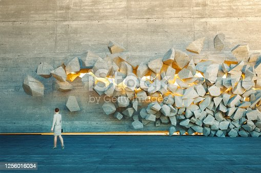 Businesswoman standing in front of breaking wall. This is entirely 3D generated image.