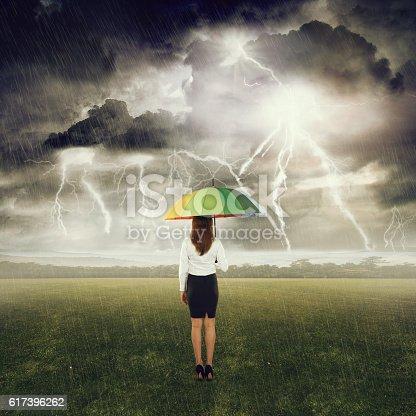 858837068istockphoto Businesswoman standing under an umbrella in field 617396262