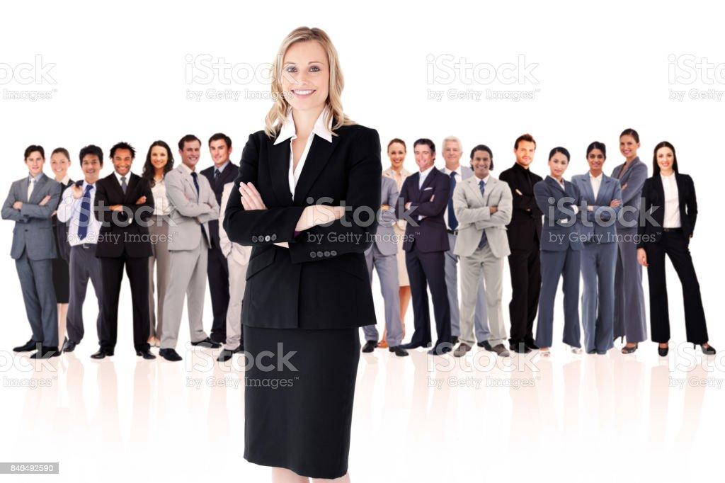 Businesswoman standing up stock photo