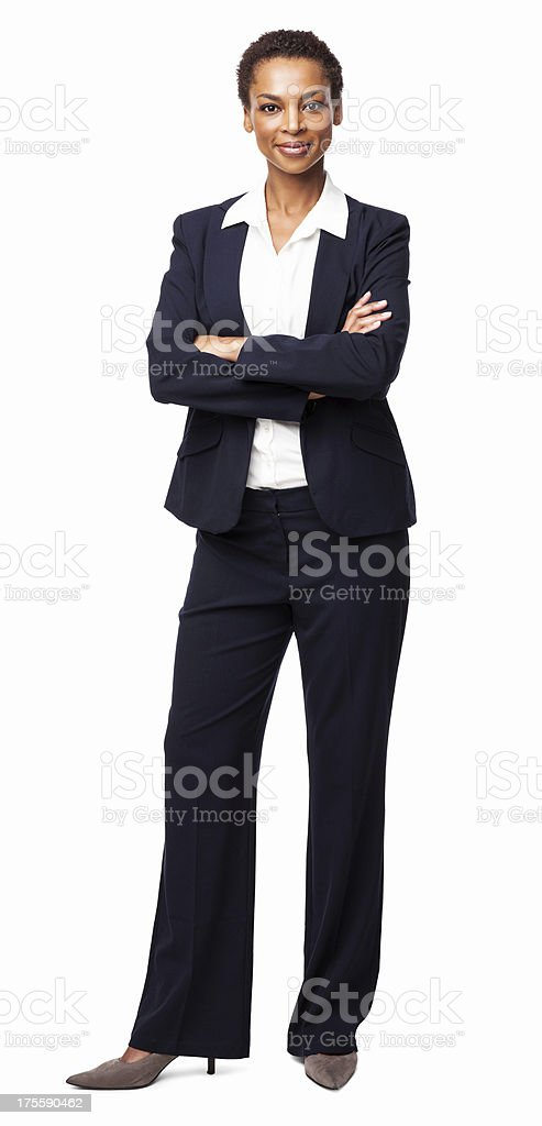 Businesswoman Standing With Hands Folded - Isolated stock photo