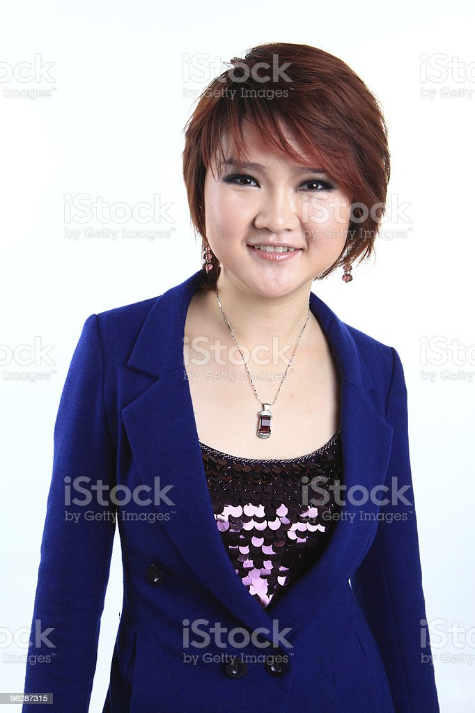 Businesswoman standing with smiling royalty-free stock photo