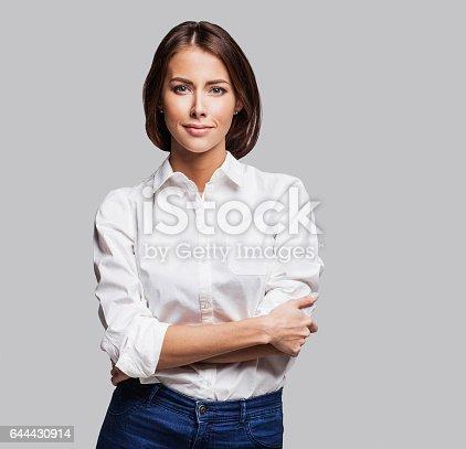 istock Businesswoman studio portrait 644430914