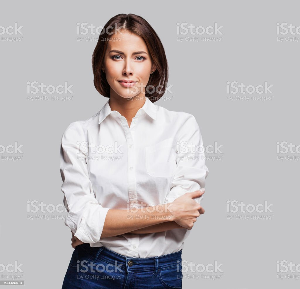 Businesswoman studio portrait stock photo