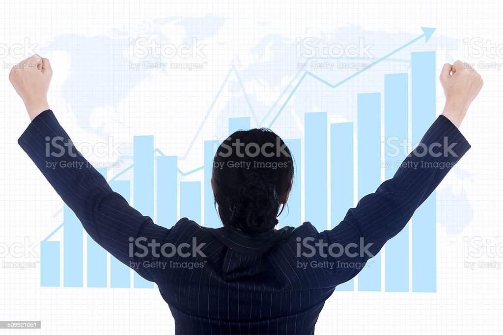 Businesswoman successful global investment stock photo
