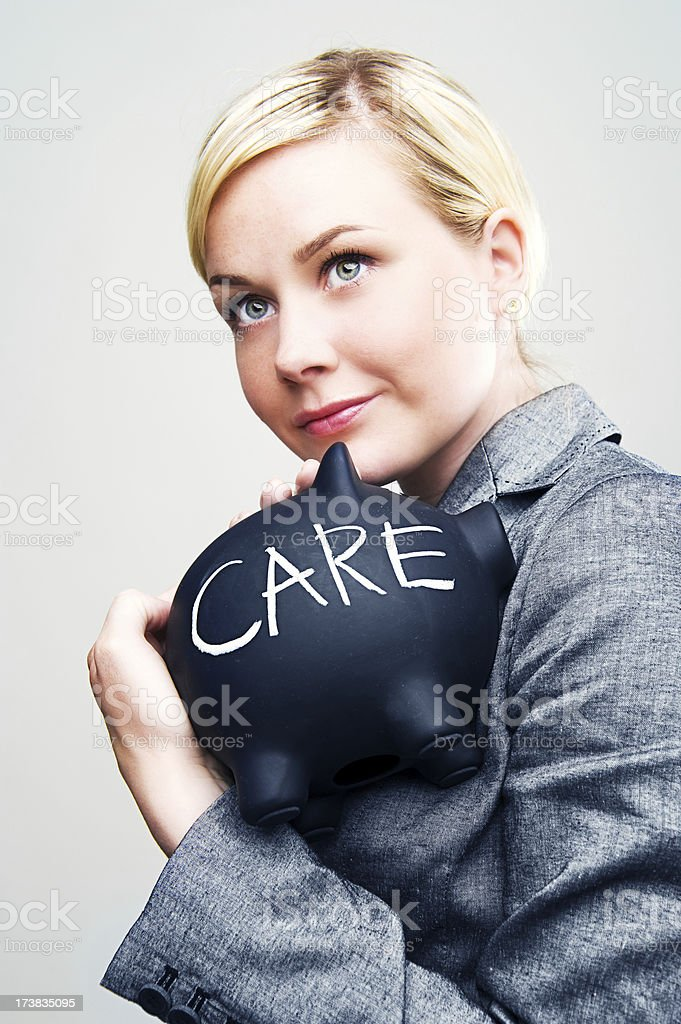 Businesswoman taking care of money royalty-free stock photo