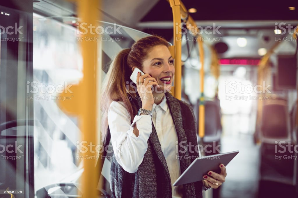 Businesswoman Taking Public Transportation