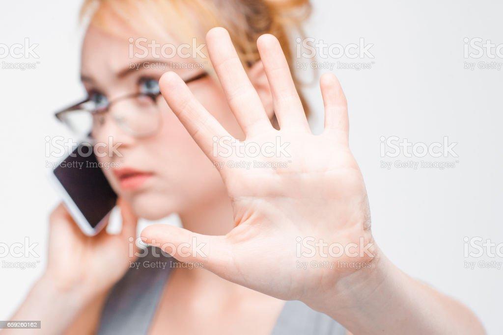 Businesswoman talk on phone wait five minutes stock photo