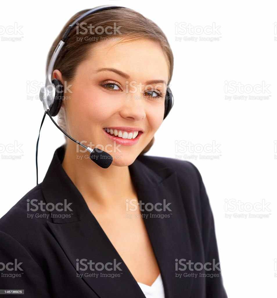 Businesswoman talking on headset royalty-free stock photo