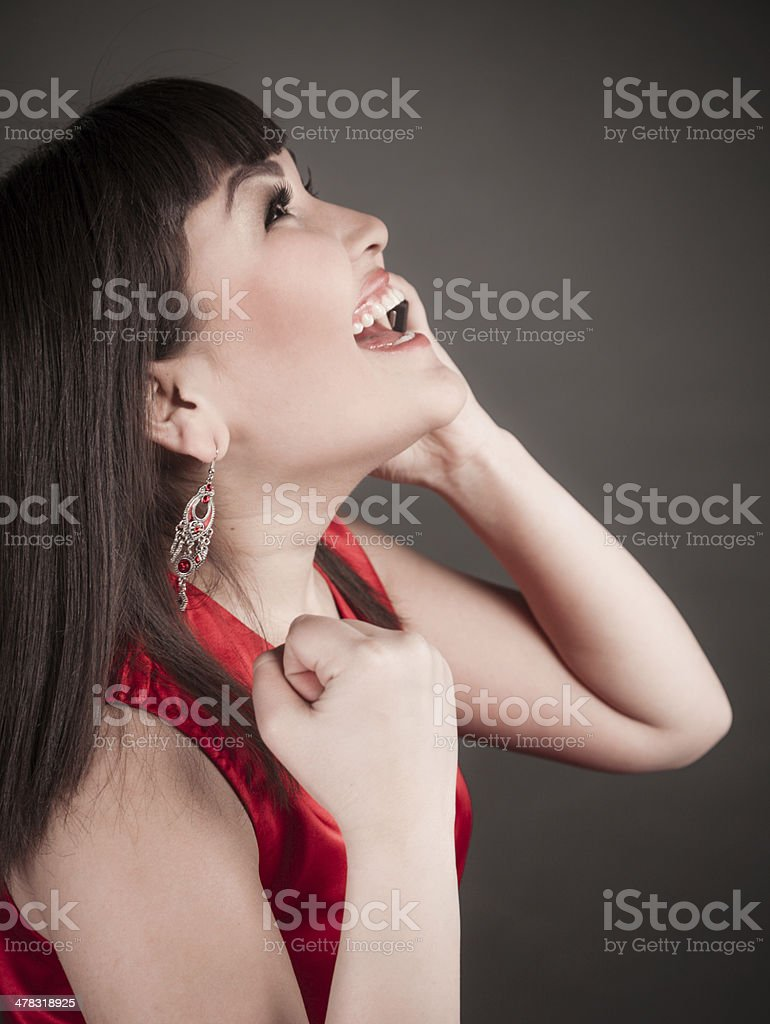 Businesswoman talking on mobile phone royalty-free stock photo