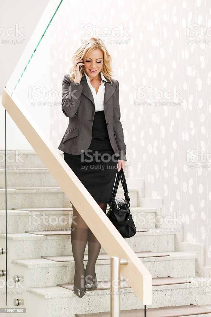 Businesswoman talking on the phone. stock photo