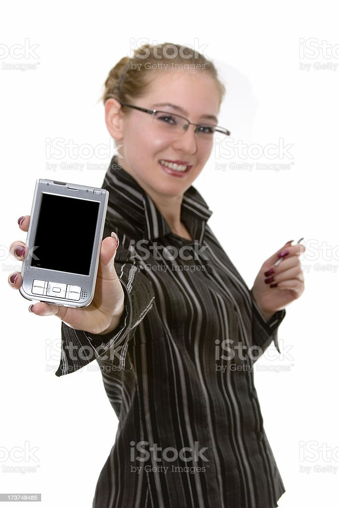 Businesswoman / teacher with her PDA royalty-free stock photo