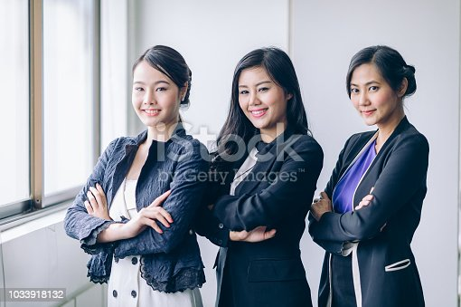 istock Businesswoman team cross one's arm and smiling to success job.Successful Teamwork Partnership at office 1033918132