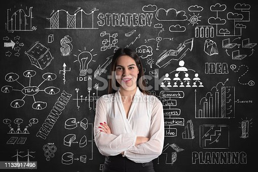 istock Businesswoman thinking on blackboard 1133917495