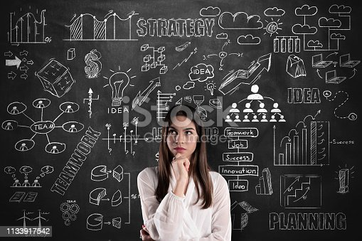 istock Businesswoman thinking on blackboard 1133917542