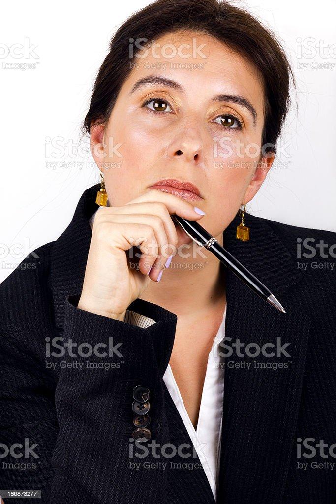 Businesswoman thinking royalty-free stock photo