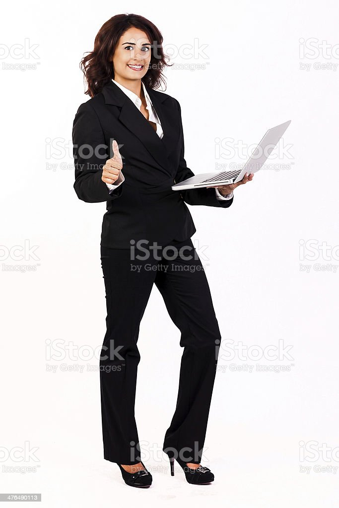 Businesswoman thumb-up royalty-free stock photo