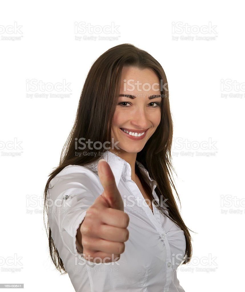 businesswoman thumps up stock photo