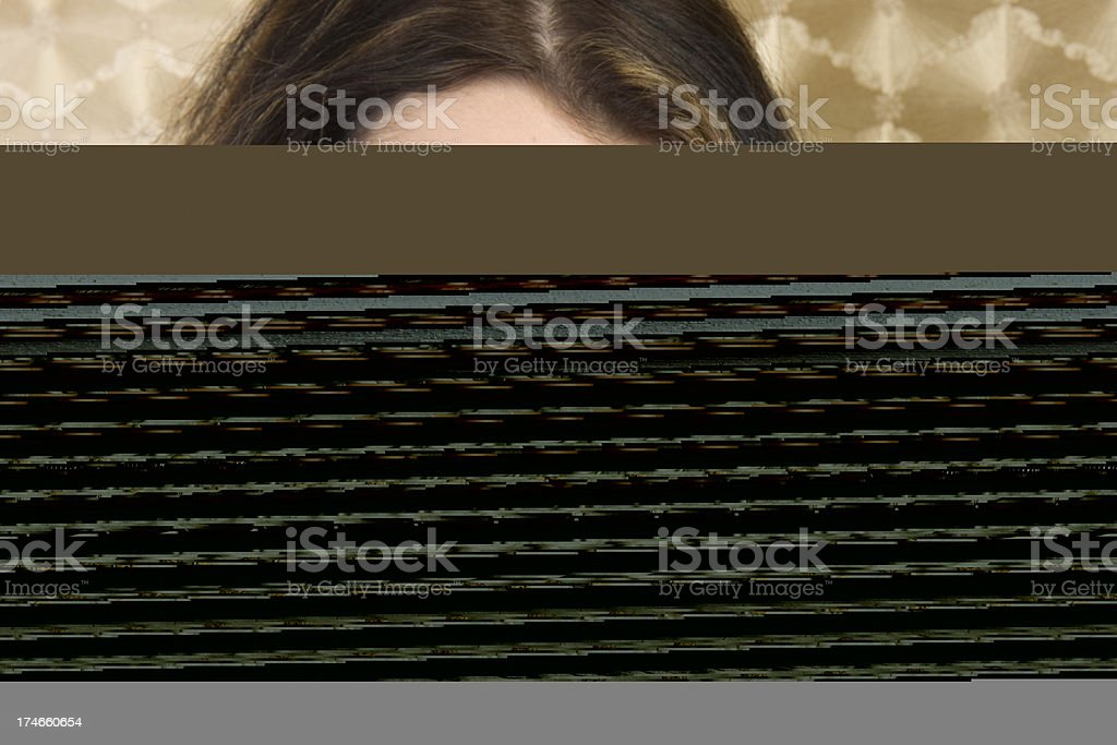 businesswoman tortured by noise royalty-free stock photo