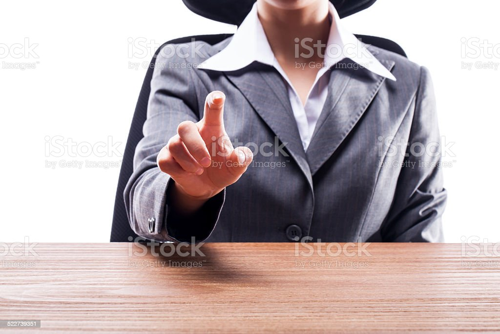 Businesswoman Touch Screen Hand Gesture stock photo