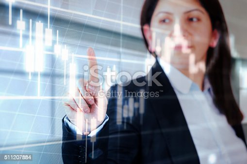 istock Businesswoman touching financial dashboard 511207884