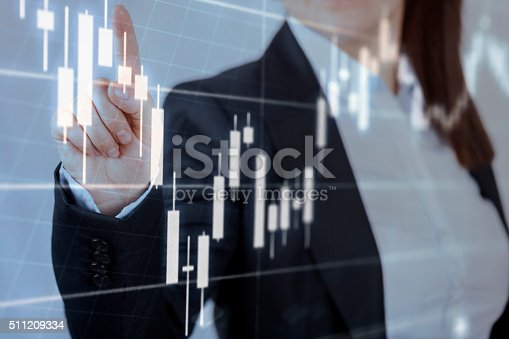 istock Businesswoman touching financial dashboard 511209334